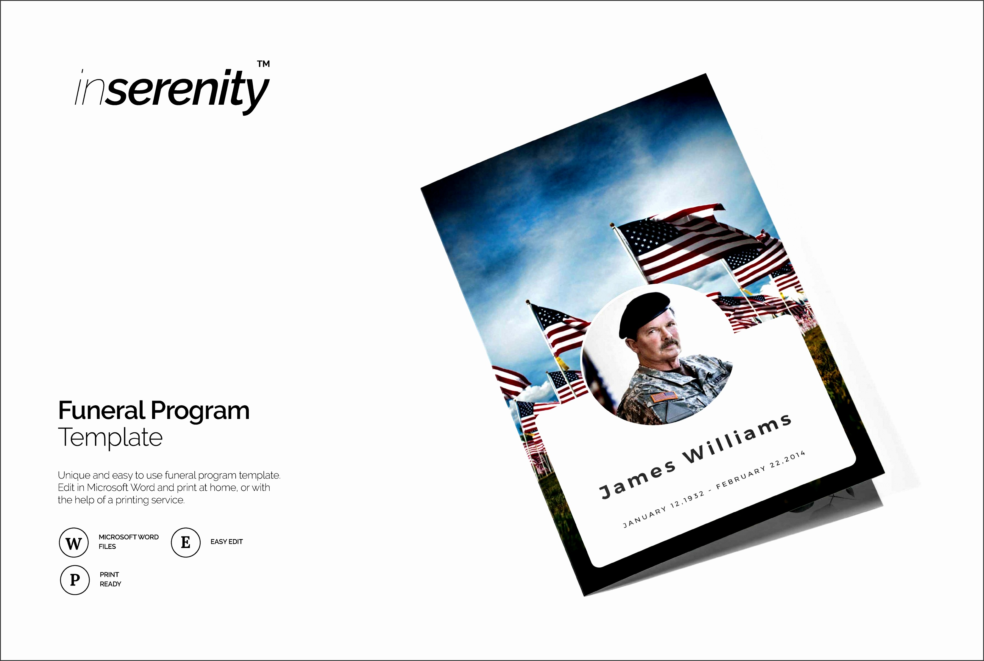 funeral program template military brochure templates creative market