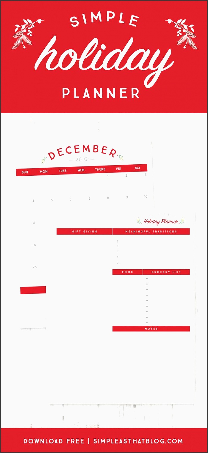 free printable holiday planner