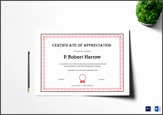 simple appreciation certificate template