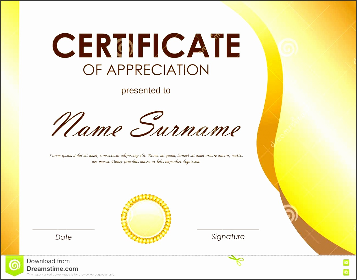 Word Certificate Of Appreciation Template Project Schedule Sample  Certificate Appreciation Template Gold Wavy Curved Light Background