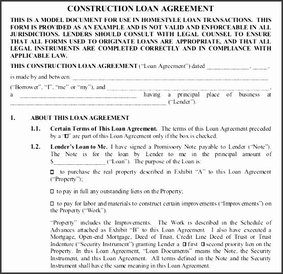 construction loan contract template free pdf