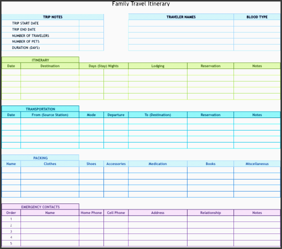 9 excel templates all in one travel template