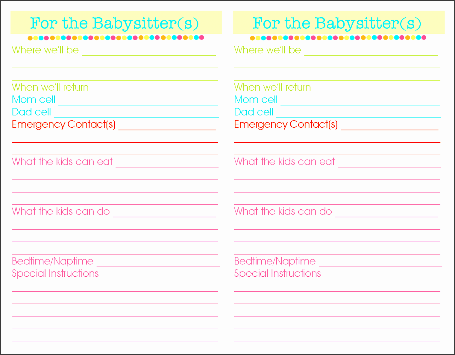 Info Sheet Template Client Info Sheet Template Babysitter Instructions  Template Babysitter Information Template Babysitting Instructions Templates  Info Sheet Template