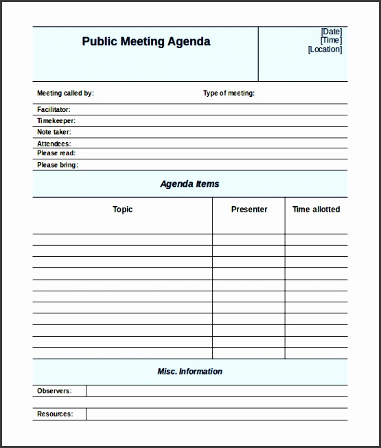 blank public meeting agenda template for free