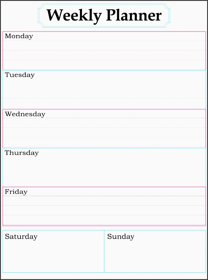 8 editable one week planner