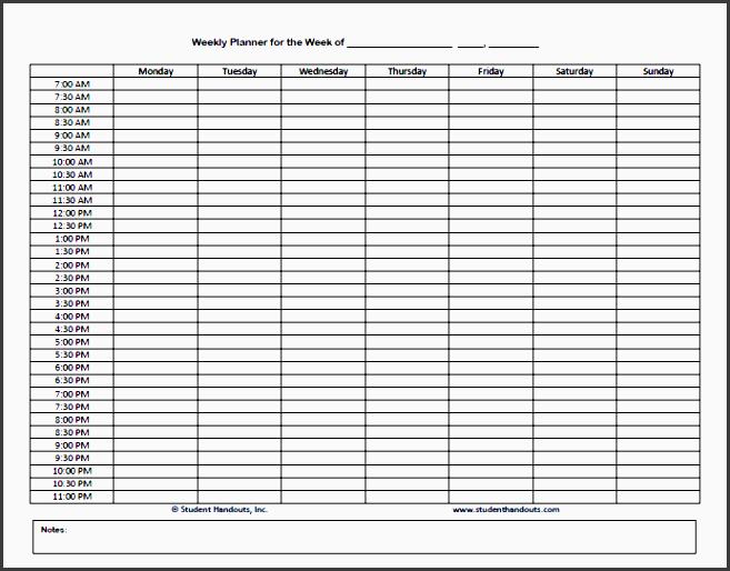 8 editable one week planner