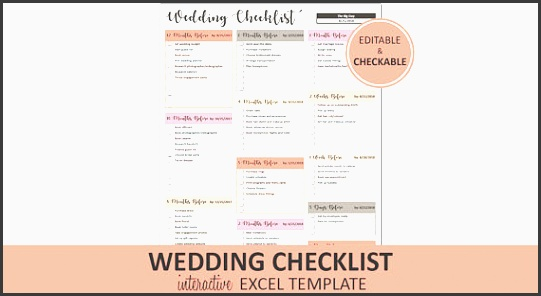 peachy wedding checklist wedding to do list printable and editable excel wedding checklist template instant digital