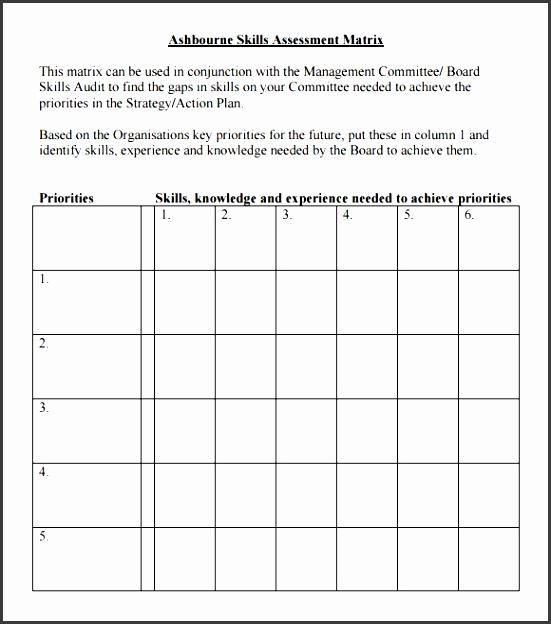 skills assessment sample template