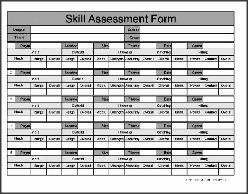 you can a pdf version of the wide numbered row skill assessment form absolutely free you can also for a small payment a fully