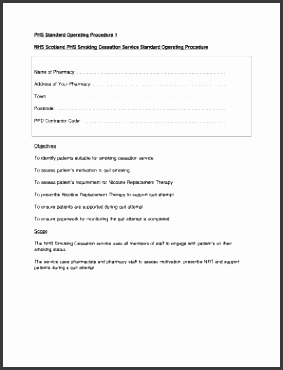 phs standard operating procedure 1 nhs scotland phs smoking