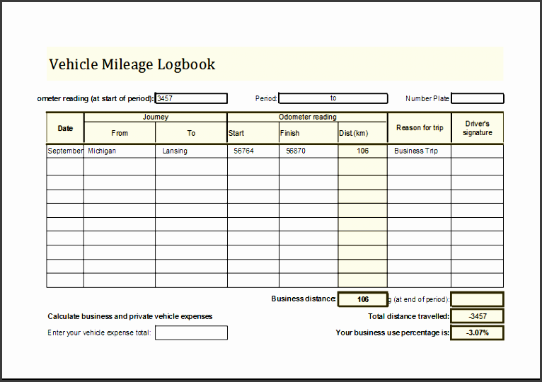 6 editable vehicle mileage log
