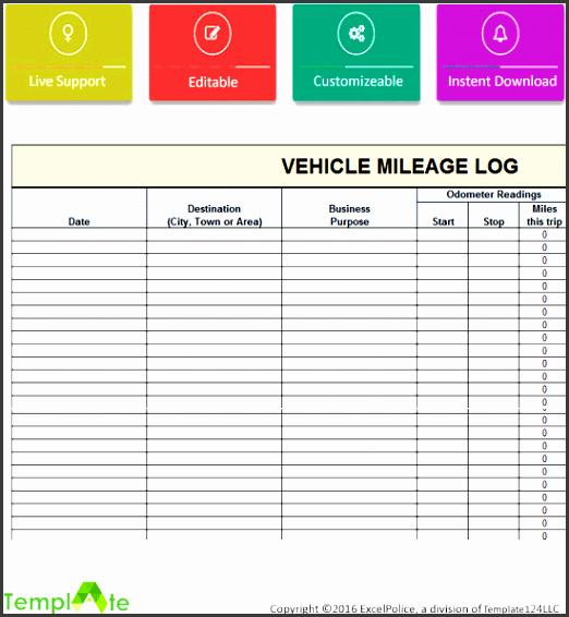 6 Editable Vehicle Mileage Log Sampletemplatess