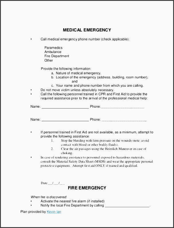 plan provided by kevin ian medical emergency