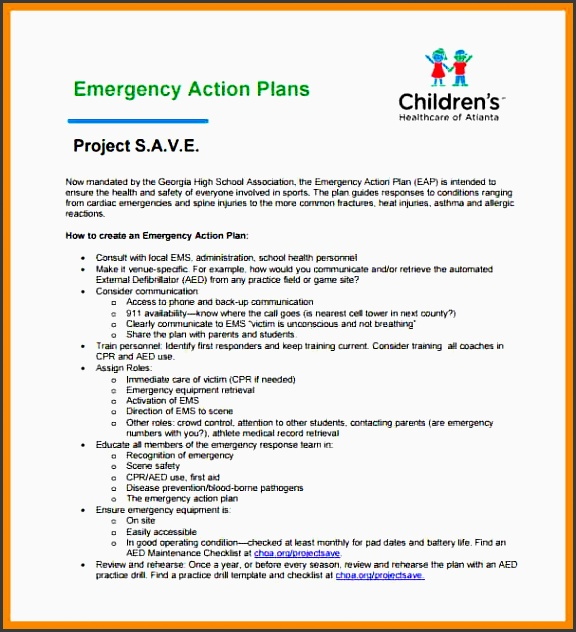 emergency action plan template emergency action plan for sports sample template caption