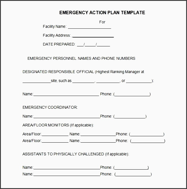 emergency action plan template with regard to osha emergency action plan template