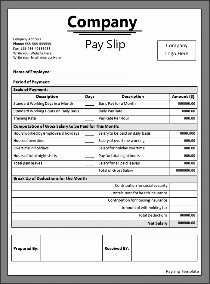 6 employee payslip template