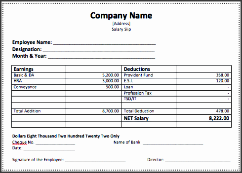 Salary Slip Template  Employee Salary Slip Sample