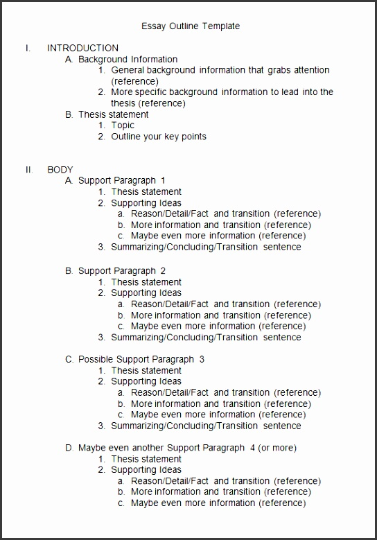 9 essay outline template - sampletemplatess
