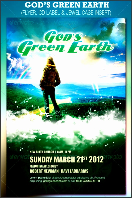 god s green earth church flyer and cd template