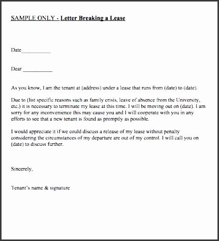 printable letter breaking a lease