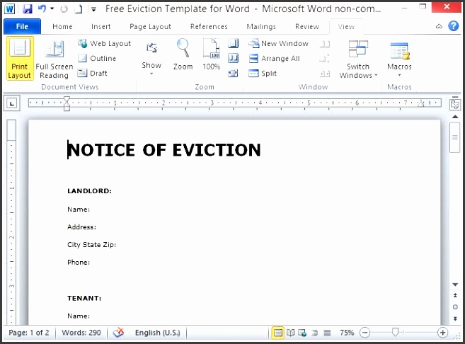 free notice of eviction template from microsoft office