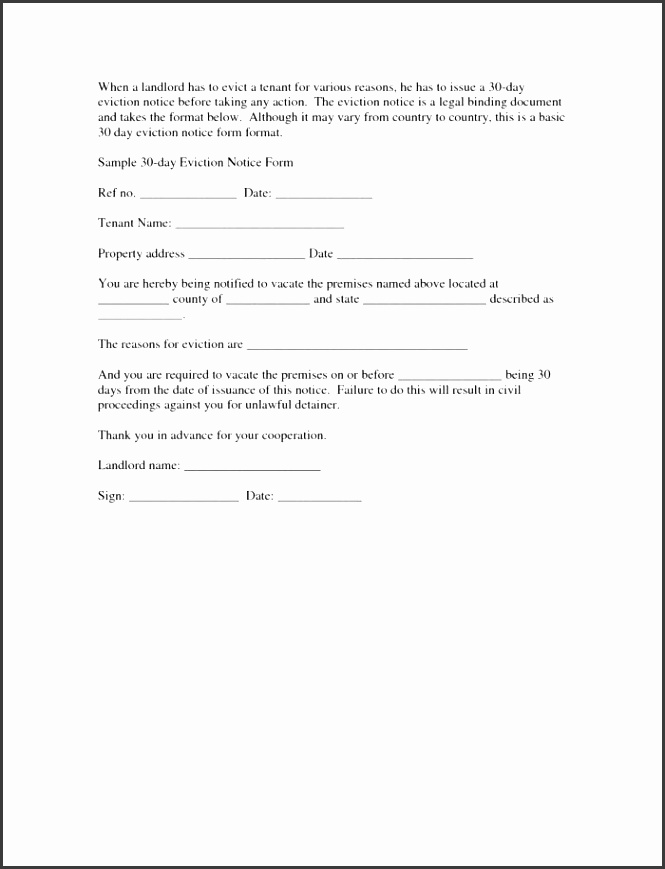 30 day eviction notice letter template