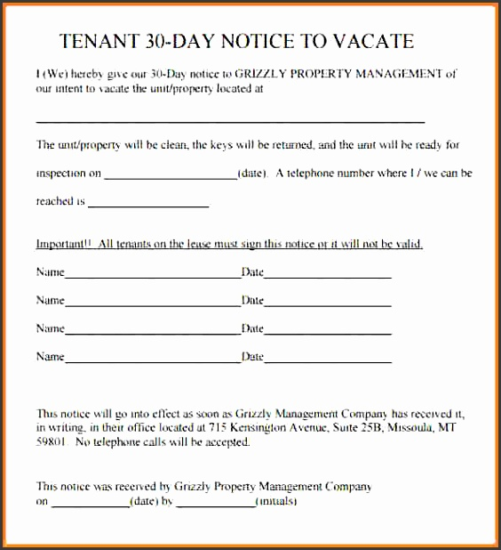 landlord to tenant 30 day notice to vacate lettertenant 30 day notice template notice letter