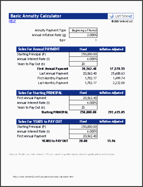 annuity calculator monthly payments