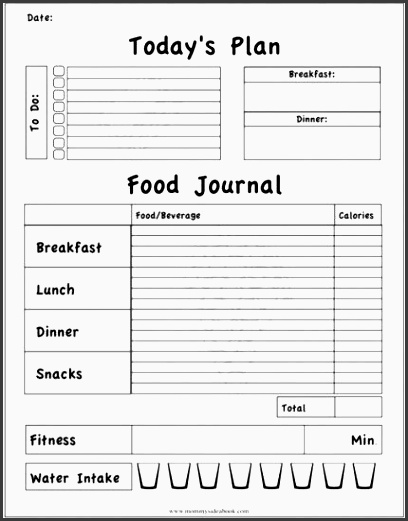 printable workout journal to track daily foods exercise and water intake