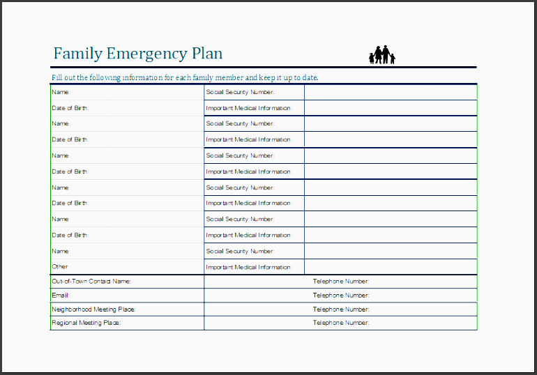 9 family emergency plan template