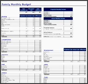 family monthly bud planner