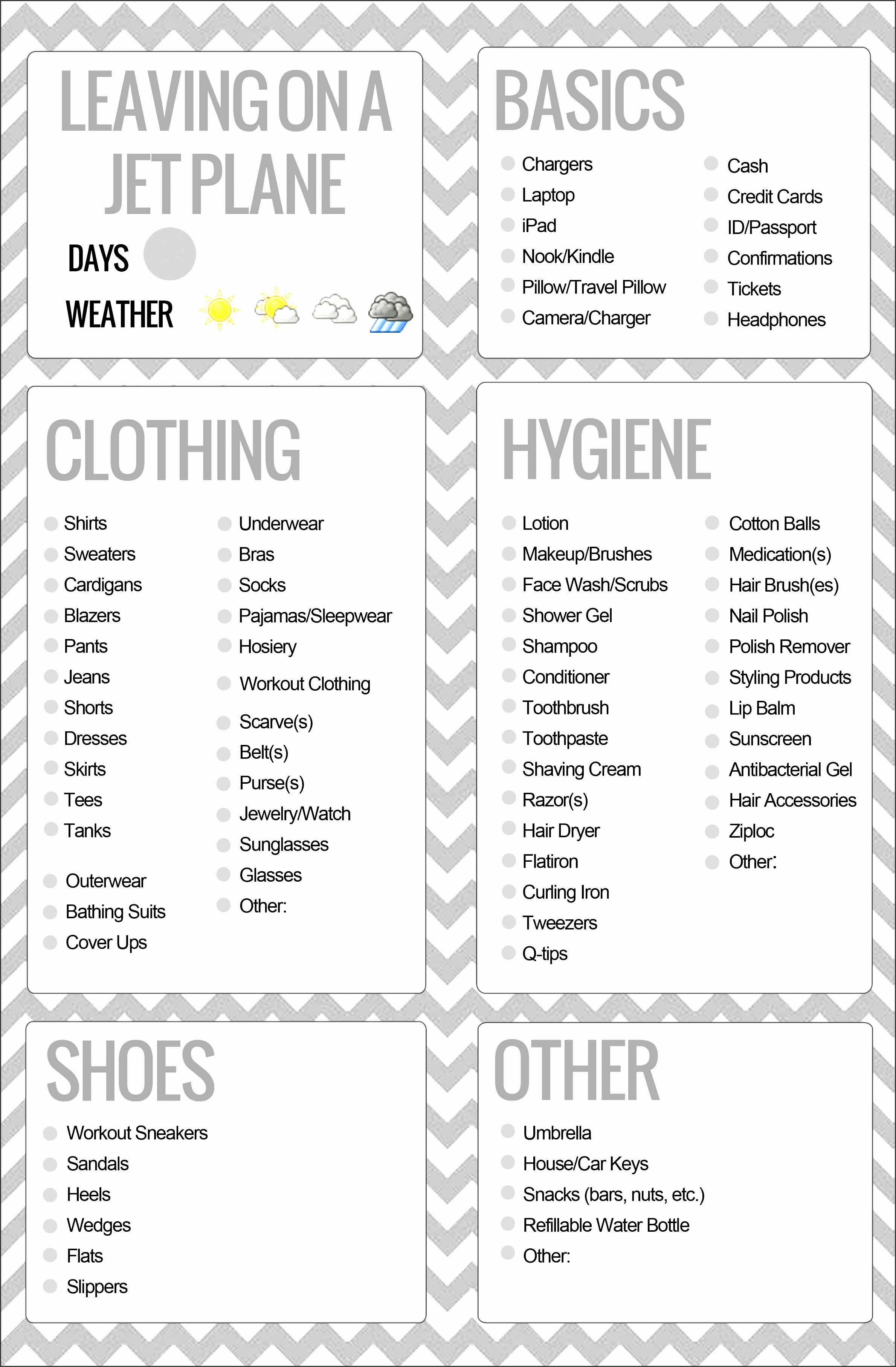 8 family vacation packing list template