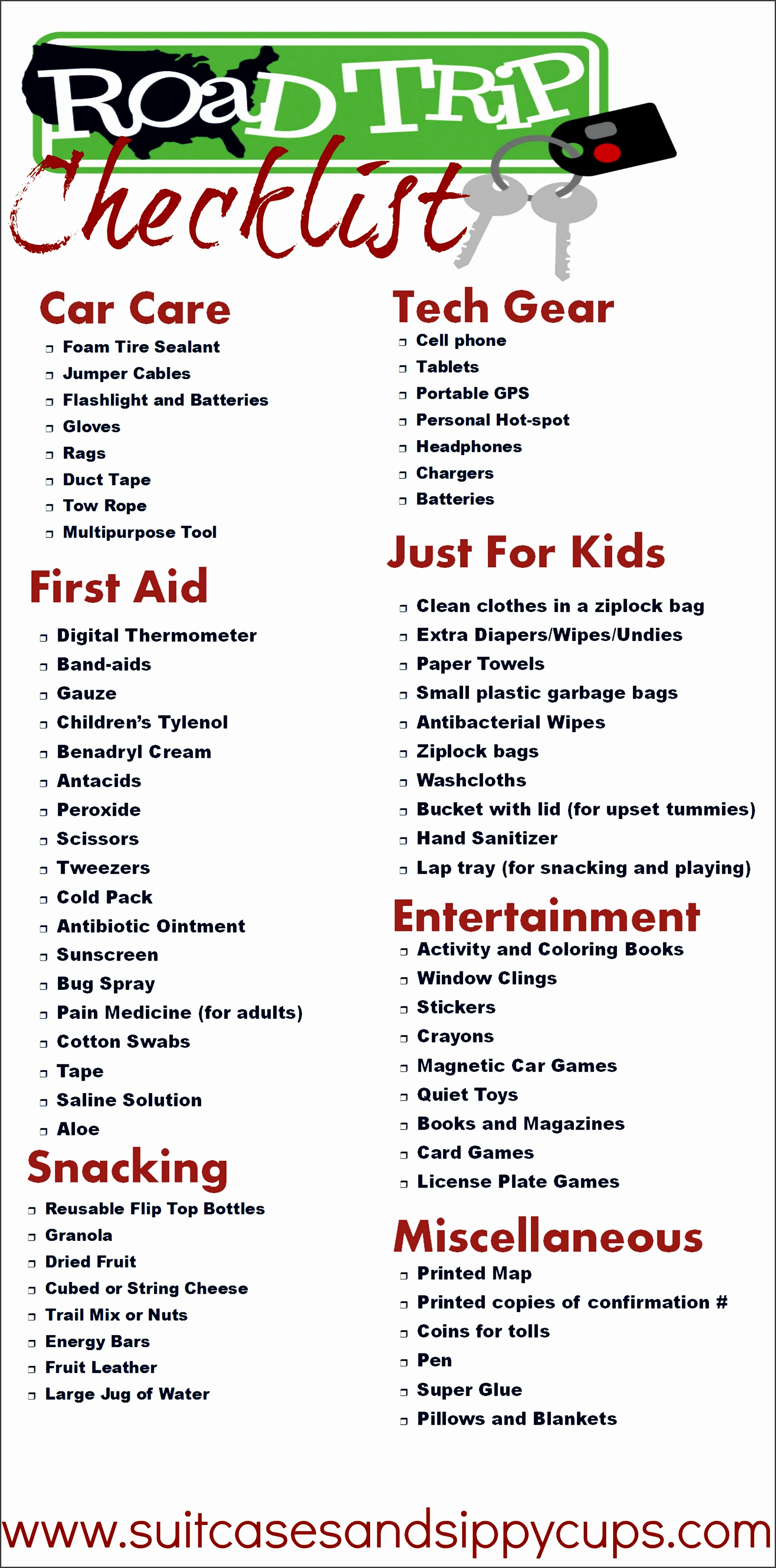 road trip packing with kids checklist