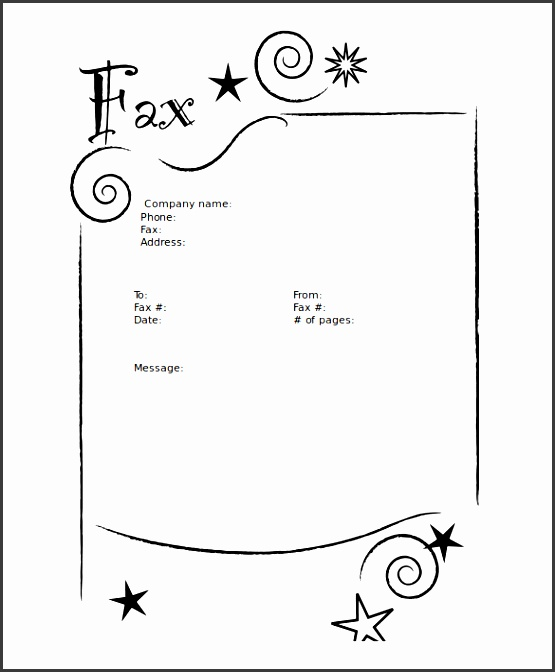 stars blank fax cover sheet microsoft word format