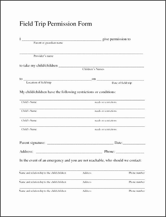 It is a graphic of Selective Printable Permission Slips