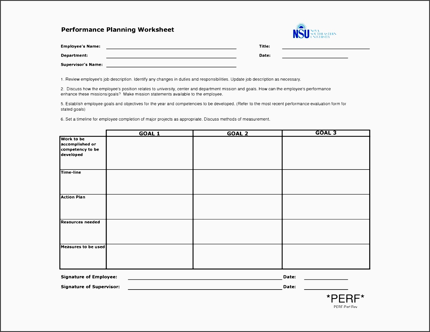 template for performance improvement plan document receipt