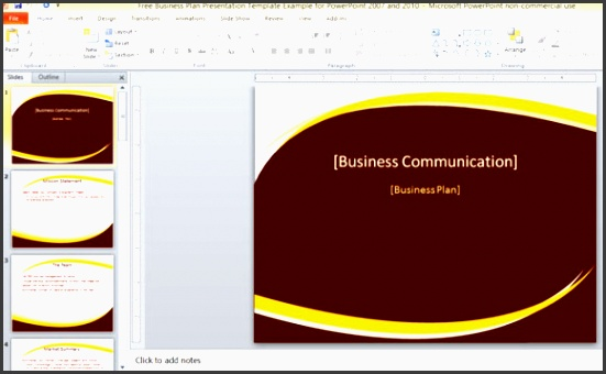 free business plan presentation template example for powerpoint 2007 and 2010 580x355