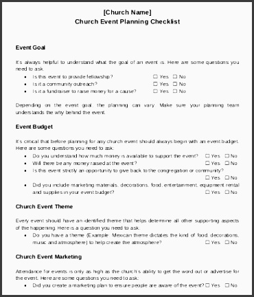 Free Church Event Planning Checklist Template To Download
