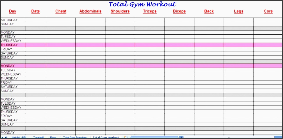 workout program sheet a lot of free workout exercise weight