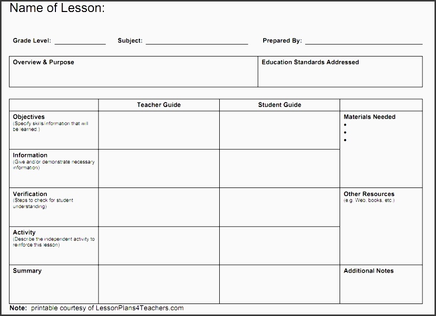 Free Lesson Planner Template Online SampleTemplatess - Teacher lesson plan template