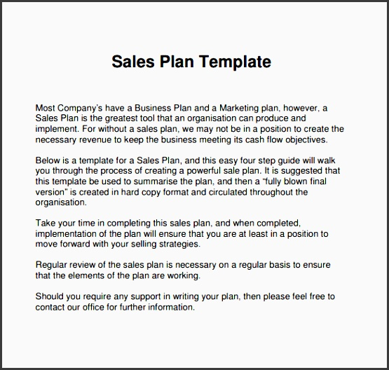 Free Sales Plan Templates SampleTemplatess SampleTemplatess - Sales business plan template word
