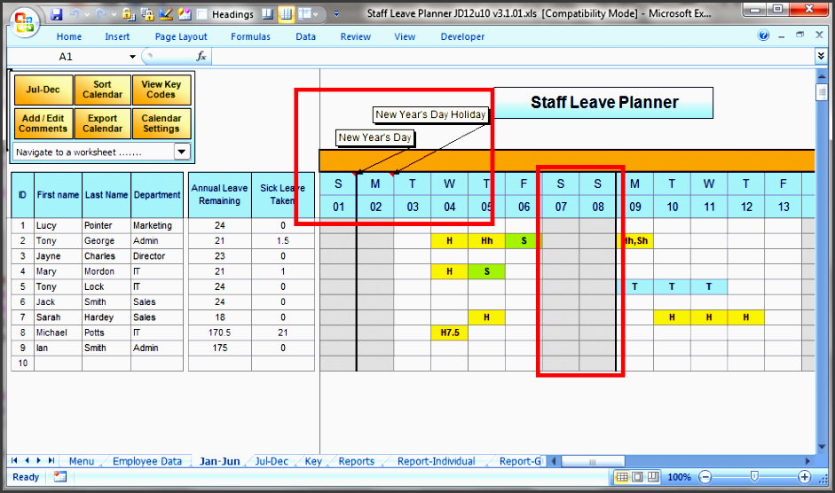 excel planner columns calendar leave codes national holidays