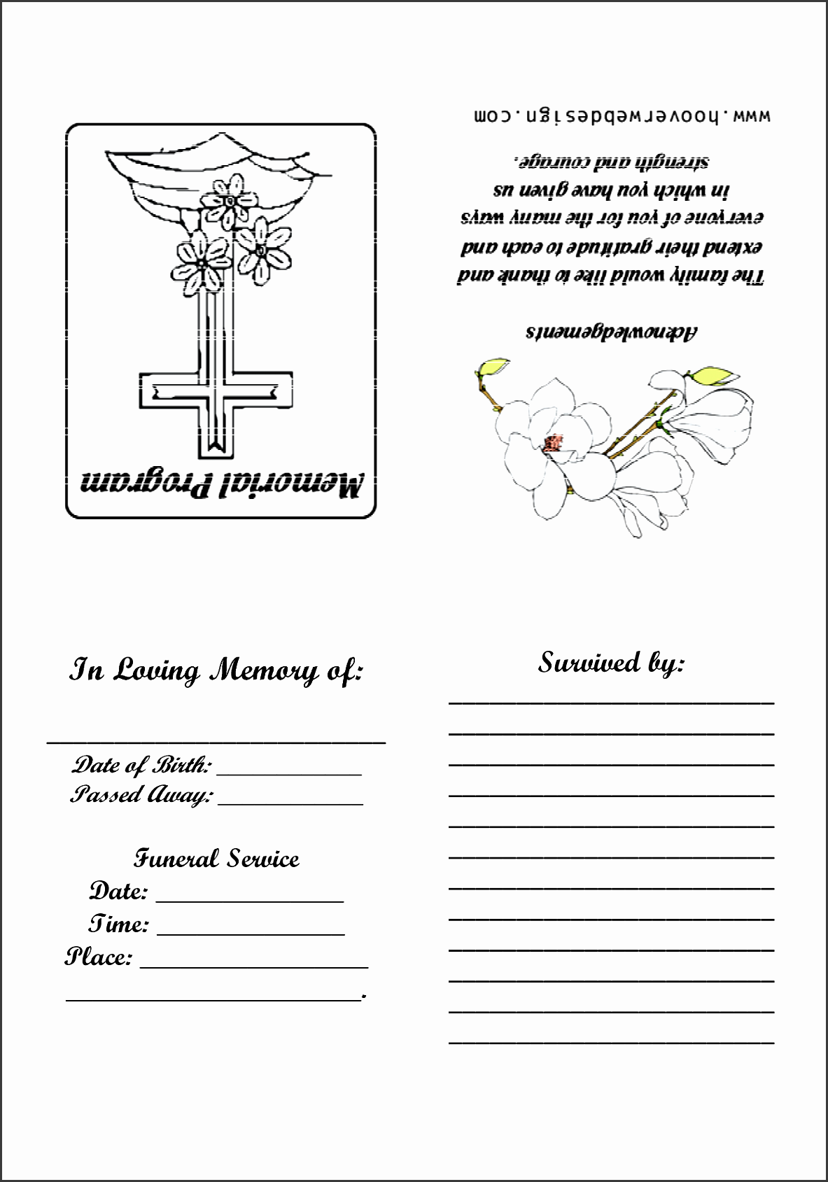 printable funeral memorial program pdf by wmj