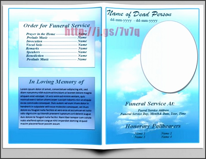 basic blue theme funeral program template log