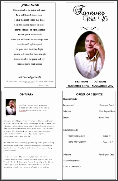 single fold funeral memorial program template for dad or grandfather create a remembrance memorial