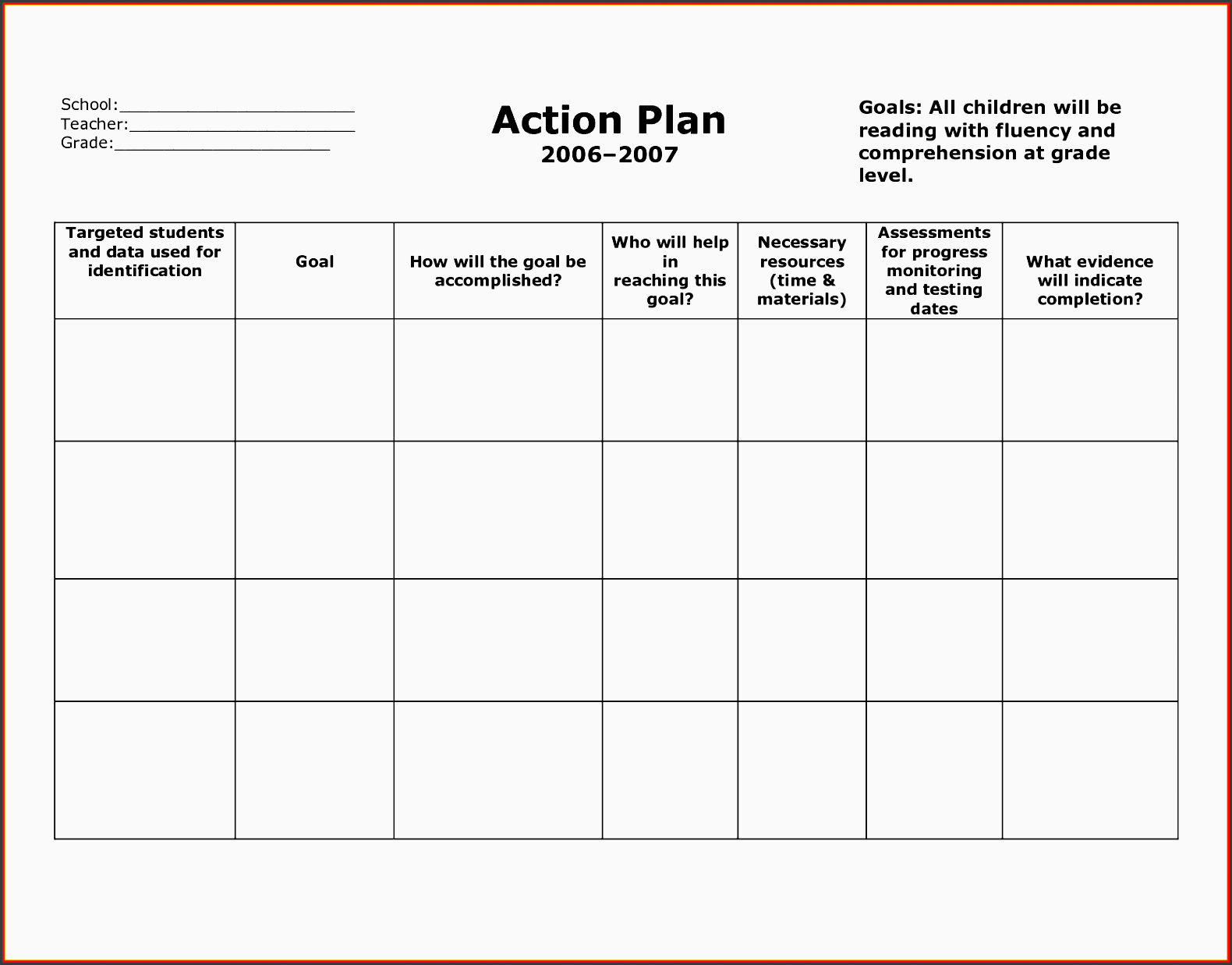 6+ General Action Plan Template