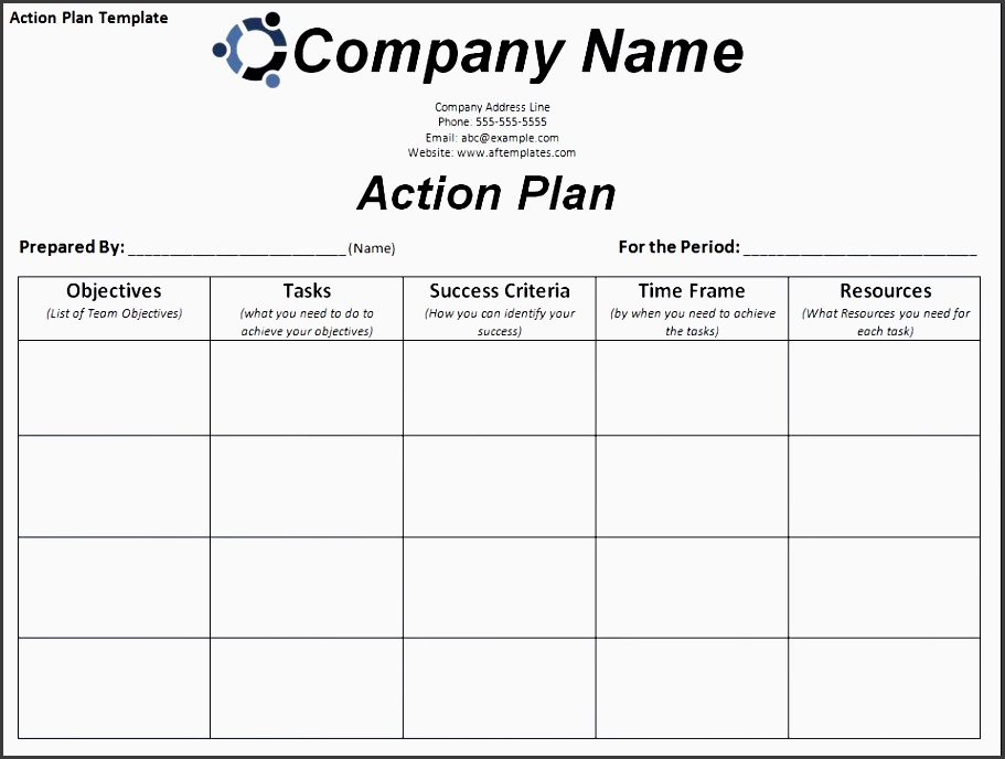 6  general action plan template