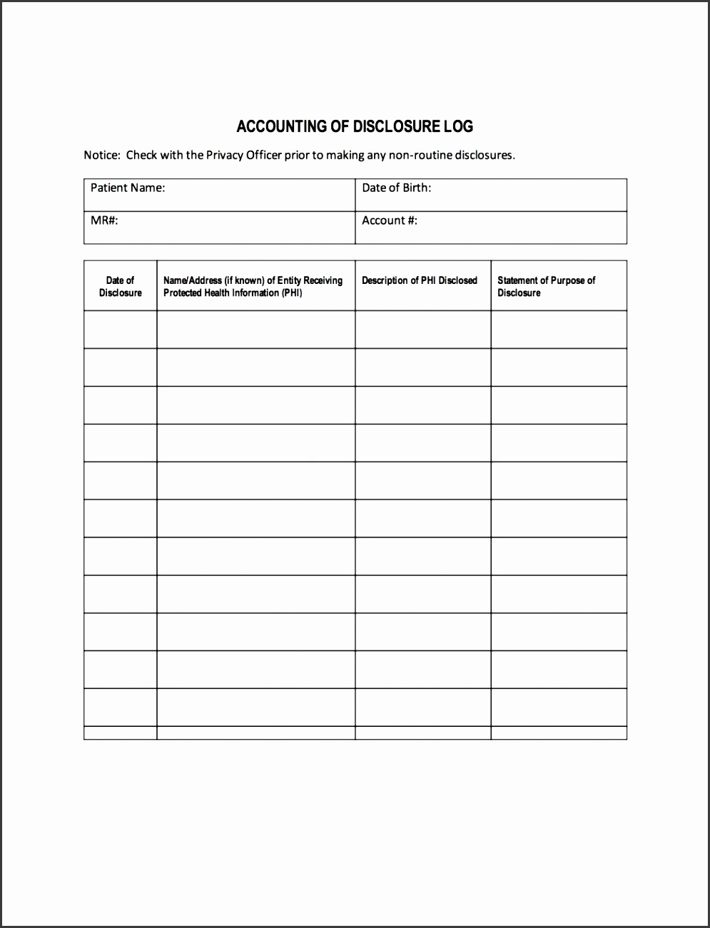 Business Ledger Template Accounting Of Disclosure Log Arkansas Mutual  Medical Forms Pdf Disclo Printable Business For  Free General Ledger Template