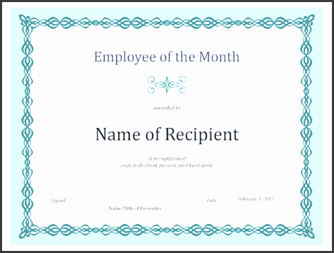 employee of the month certificate template free certificate for employee of the month blue chain design office