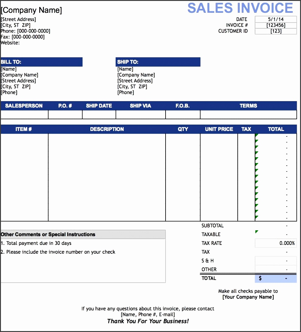 sales invoice template microsoft excel